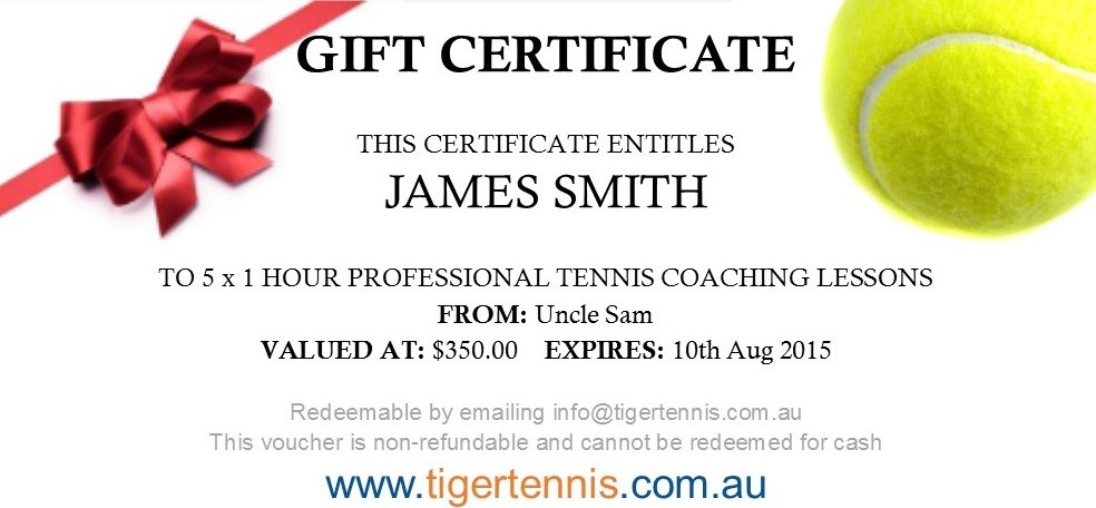Gift vouchers tiger tennis adelaide australia sample yadclub Choice Image